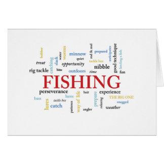 Cartão Aniversário da pesca nas palavras