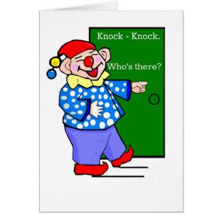Cartão Aniversário da piada da Batida-Batida do palhaço