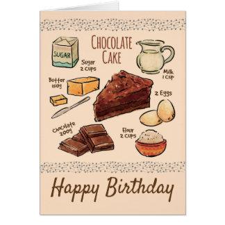Cartão Aniversário da receita do bolo de chocolate