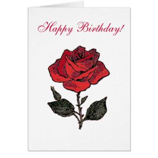 Cartão Aniversário da rosa vermelha