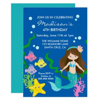 Cartão Aniversário   da sereia para baixo pelo mar