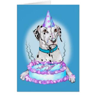 Cartão Aniversário Dalmatian da cara do bolo