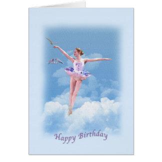 Cartão Aniversário, dança da bailarina acima das nuvens