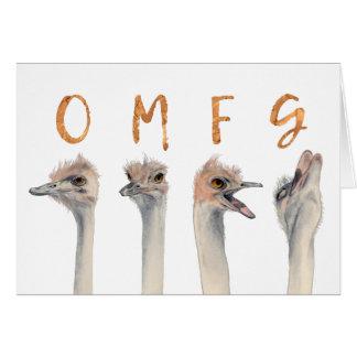 Cartão Aniversário das avestruzes de OMFG