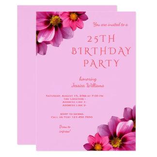 Cartão Aniversário das dálias de canto decorativas