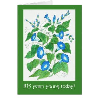 Cartão Aniversário das flores azuis bonito da corriola