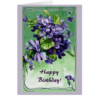 Cartão Aniversário das violetas da beira do nouveau da