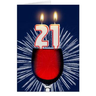 Cartão Aniversário de 21 anos com vinho e velas