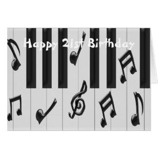 Cartão Aniversário de 21 anos do piano