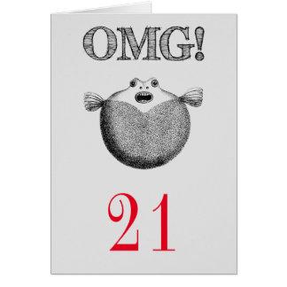 Cartão Aniversário de 21 anos engraçado de OMG