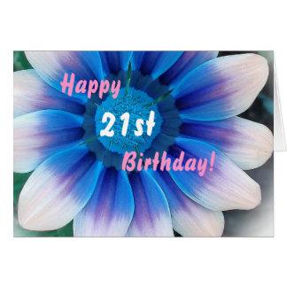 Cartão Aniversário de 21 anos FELIZ com a flor azul