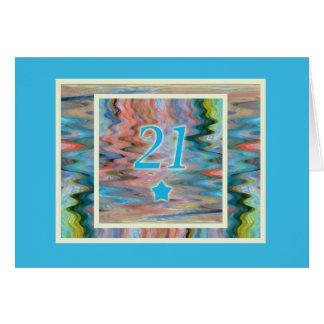 Cartão Aniversário de 21 anos feliz, Milo, com ondinhas