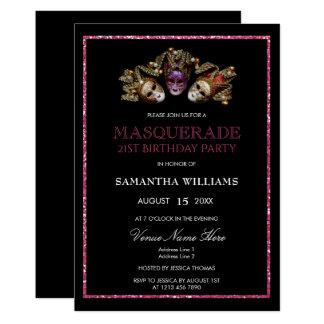 Cartão Aniversário de 21 anos glamoroso do mascarada dos