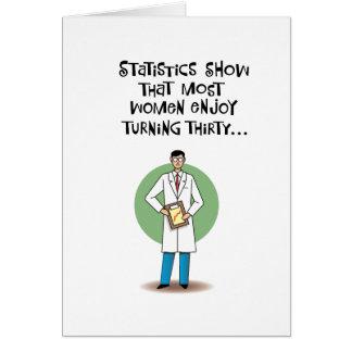 Cartão Aniversário de 30 anos engraçado de Statisticaly