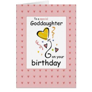Cartão Aniversário de 3289 Goddaughter, cor-de-rosa