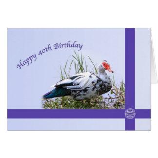 Cartão Aniversário de 40 anos com pato de Muscovy