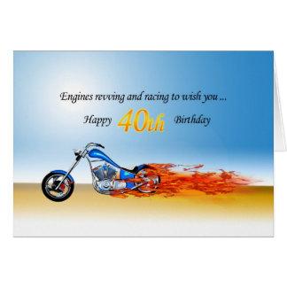 Cartão Aniversário de 40 anos com uma motocicleta