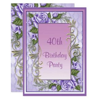 Cartão Aniversário de 40 anos quadro do roxo rosa