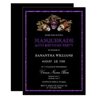 Cartão Aniversário de 40 anos roxo glamoroso do mascarada