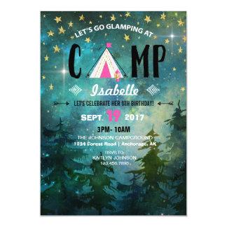 Cartão Aniversário de acampamento da região selvagem da