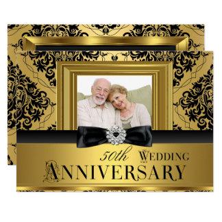 Cartão Aniversário de casamento 3 da foto 50th do arco do
