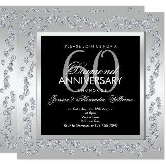Cartão Aniversário de casamento à moda da prata 60th dos