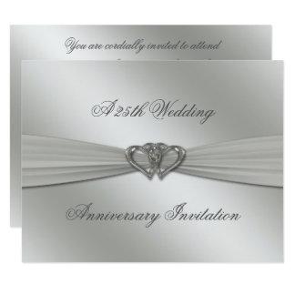 Cartão Aniversário de casamento da prata clássica o 25o