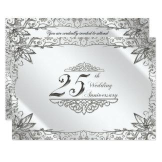 Cartão Aniversário de casamento da prata do Flourish o