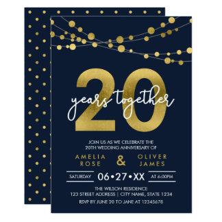 Cartão Aniversário de casamento das luzes elegantes azuis
