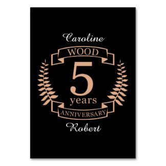 Cartão Aniversário de casamento de madeira 5 anos