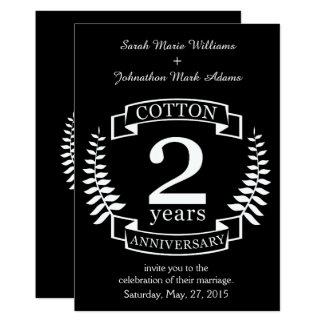Cartão Aniversário de casamento do algodão 2 anos casados