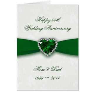 Cartão Aniversário de casamento do damasco 55th