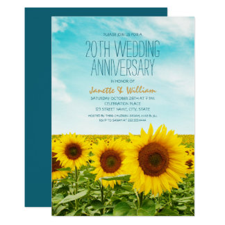 Cartão Aniversário de casamento do girassol rústico 20o