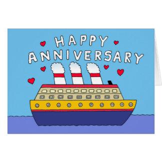 Cartão Aniversário de casamento do navio de cruzeiros