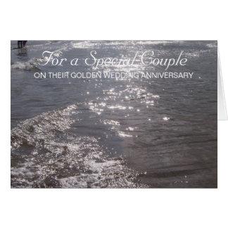Cartão Aniversário de casamento do oceano 50th