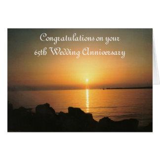 Cartão Aniversário de casamento do por do sol 65th