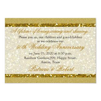 Cartão Aniversário de casamento dourado do brilho 50th do