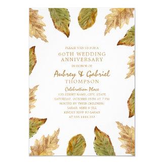 Cartão Aniversário de casamento elegante das folhas 60th