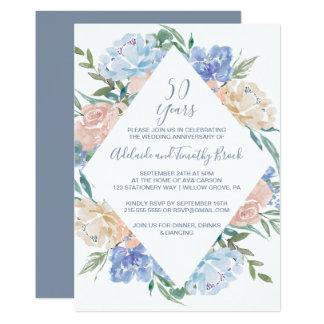 Cartão Aniversário de casamento floral azul empoeirado do