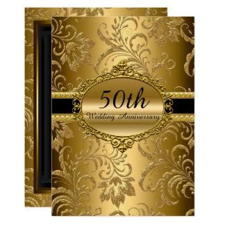 Cartão Aniversário de casamento floral do ouro o 50th