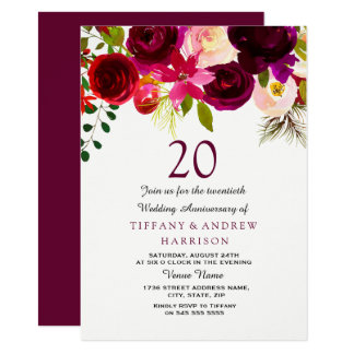 Cartão Aniversário de casamento floral vermelho de