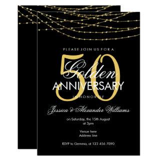 Cartão Aniversário de casamento glamoroso das luzes 50th