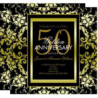 Cartão Aniversário de casamento glamoroso do damasco 50th