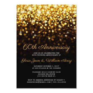 Cartão Aniversário de casamento preto do encanto 60th de
