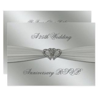 Cartão Aniversário de casamento RSVP da prata clássica