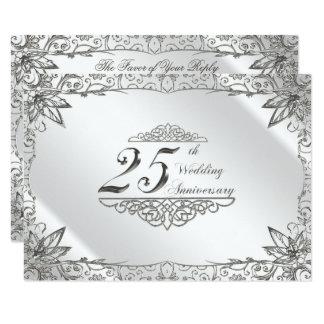 Cartão Aniversário de casamento RSVP da prata do Flourish