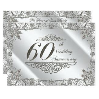 Cartão Aniversário de casamento RSVP do diamante 60th do
