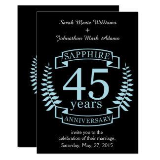 Cartão Aniversário de casamento tradicional da safira