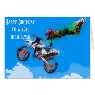 Cartão Aniversário de competência da motocicleta do