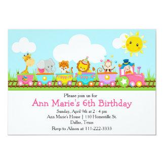 Cartão Aniversário de criança animal do trem do circo no
